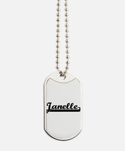 Janelle Classic Retro Name Design Dog Tags