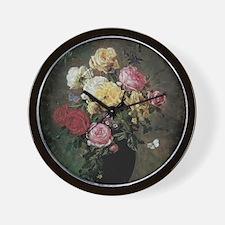 Floral Still Life by Hermansen Wall Clock