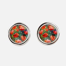 Abstract Poppies Paintings on Canv Round Cufflinks