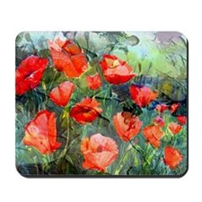 Abstract Poppies Paintings on Canvas Mousepad