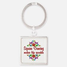 Square Dancing Sparkles Square Keychain
