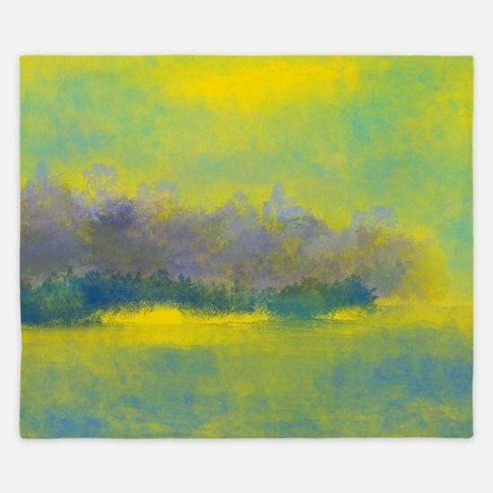 Landscape in Gold, Purple, and Blue King Duvet