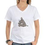 Rhino with an Attitude Women's V-Neck T-Shirt