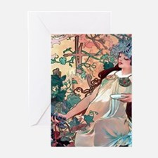 Mucha Autumn Grapes Greeting Cards