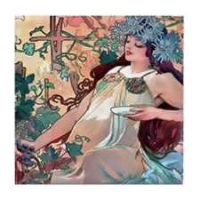 Mucha Autumn Grapes Tile Coaster