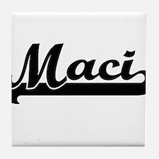 Maci Classic Retro Name Design Tile Coaster
