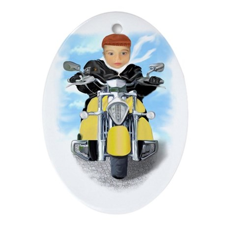 Baby Bikers Oval Ornament