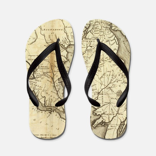 Vintage Map of Maryland (1796) Flip Flops