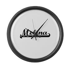 Melina Classic Retro Name Design Large Wall Clock