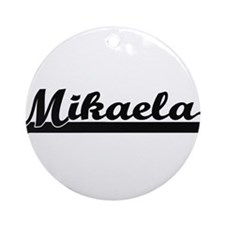 Mikaela Classic Retro Name Design Ornament (Round)