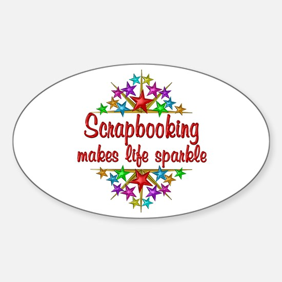 Scrapbooking Sparkles Sticker (Oval)