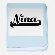 Nina Classic Retro Name Design baby blanket