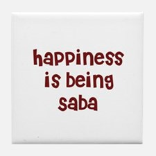 happiness is being Saba Tile Coaster