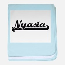 Nyasia Classic Retro Name Design baby blanket