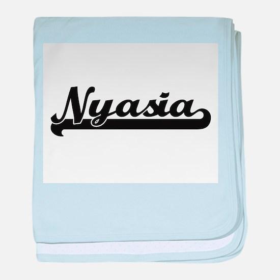 Nyasia Classic Retro Name Design baby blanket