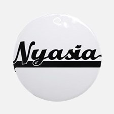 Nyasia Classic Retro Name Design Ornament (Round)