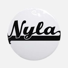 Nyla Classic Retro Name Design Ornament (Round)