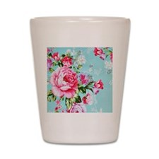 Beautiful Vintage Chic Cottage Roses Shot Glass