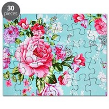 Beautiful Vintage Chic Cottage Roses Puzzle