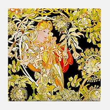 Mucha Marguerite Bower Tile Coaster