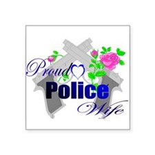 "Cute Police wife Square Sticker 3"" x 3"""