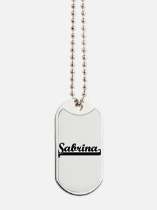 Sabrina Classic Retro Name Design Dog Tags