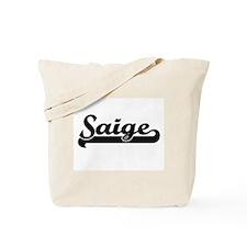 Saige Classic Retro Name Design Tote Bag