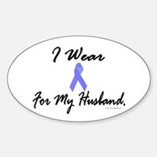 I Wear Light Blue For My Husband Oval Decal