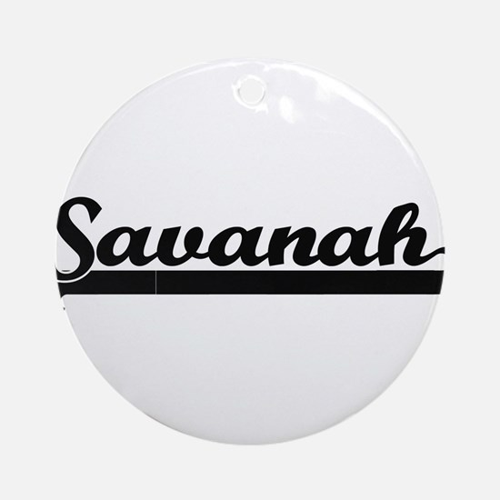 Savanah Classic Retro Name Design Ornament (Round)