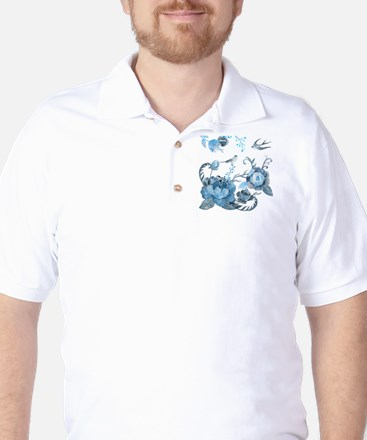 Watercolor Blue Peony and Swallows Golf Shirt