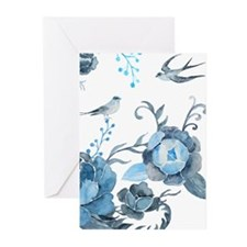 Watercolor Blue Peony and Swallows Greeting Cards