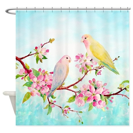unique tree blue birds shower curtain
