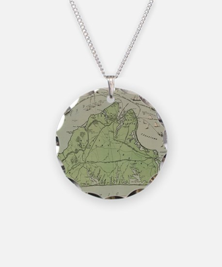 Vintage Map of Marthas Viney Necklace Circle Charm