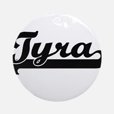 Tyra Classic Retro Name Design Ornament (Round)