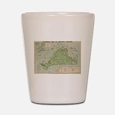 Vintage Map of Marthas Vineyard (1913) Shot Glass
