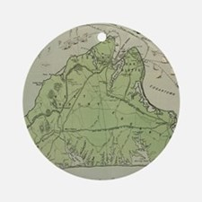 Vintage Map of Marthas Vineyard ( Ornament (Round)