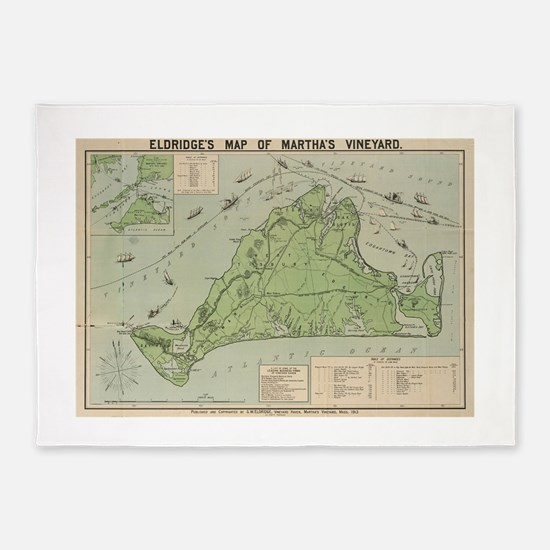 Vintage Map of Marthas Vineyard (19 5'x7'Area Rug