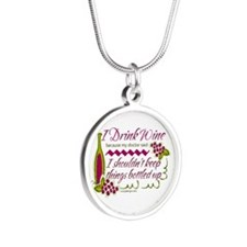 I Drink Wine Funny Quote Necklaces