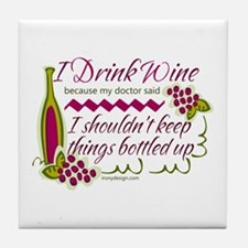 I Drink Wine Funny Quote Tile Coaster
