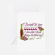 I Drink Wine Funny Quote Greeting Cards