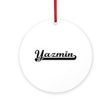 Yazmin Classic Retro Name Design Ornament (Round)