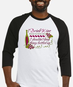I Drink Wine Funny Quote Baseball Jersey
