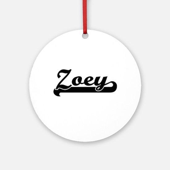 Zoey Classic Retro Name Design Ornament (Round)