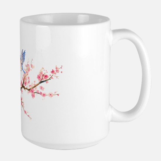 Watercolor pink cherry blossoms and blu Large Mug