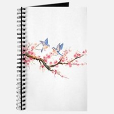 Watercolor pink cherry blossoms and blue b Journal