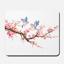 Watercolor pink cherry blossoms and blue Mousepad