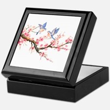 Watercolor pink cherry blossoms and b Keepsake Box