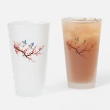 Watercolor pink cherry blossoms and Drinking Glass