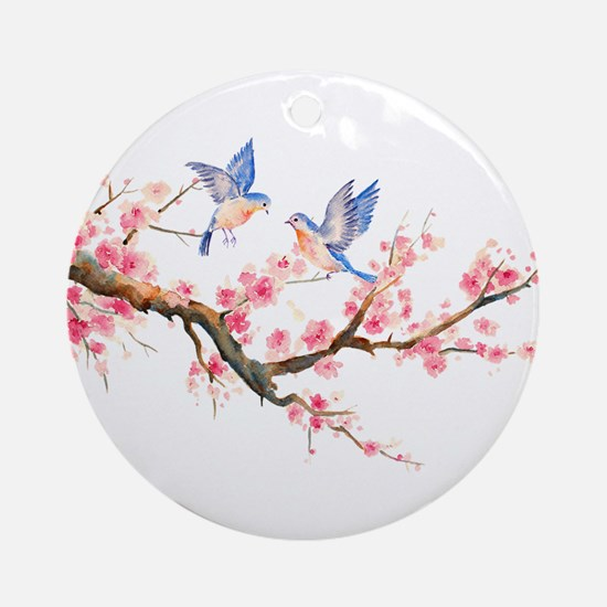Watercolor pink cherry blossoms a Ornament (Round)