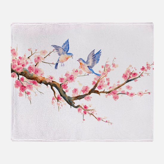 Watercolor pink cherry blossoms and Throw Blanket